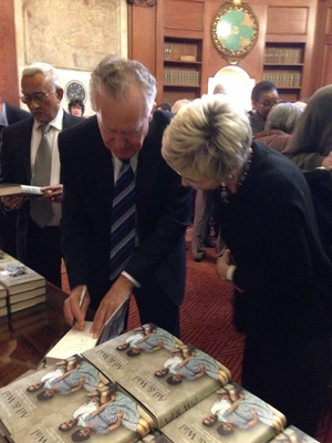Peter Hain signing books at the Ad and Wal book launch