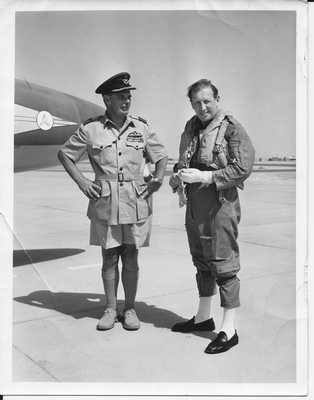 Harry Chapman Pincher preparing to fly with the RAF over the Yemen in 1962.